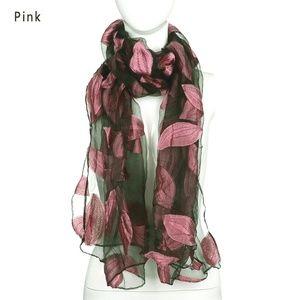 Accessories - Leaves Satin Silk Scarf